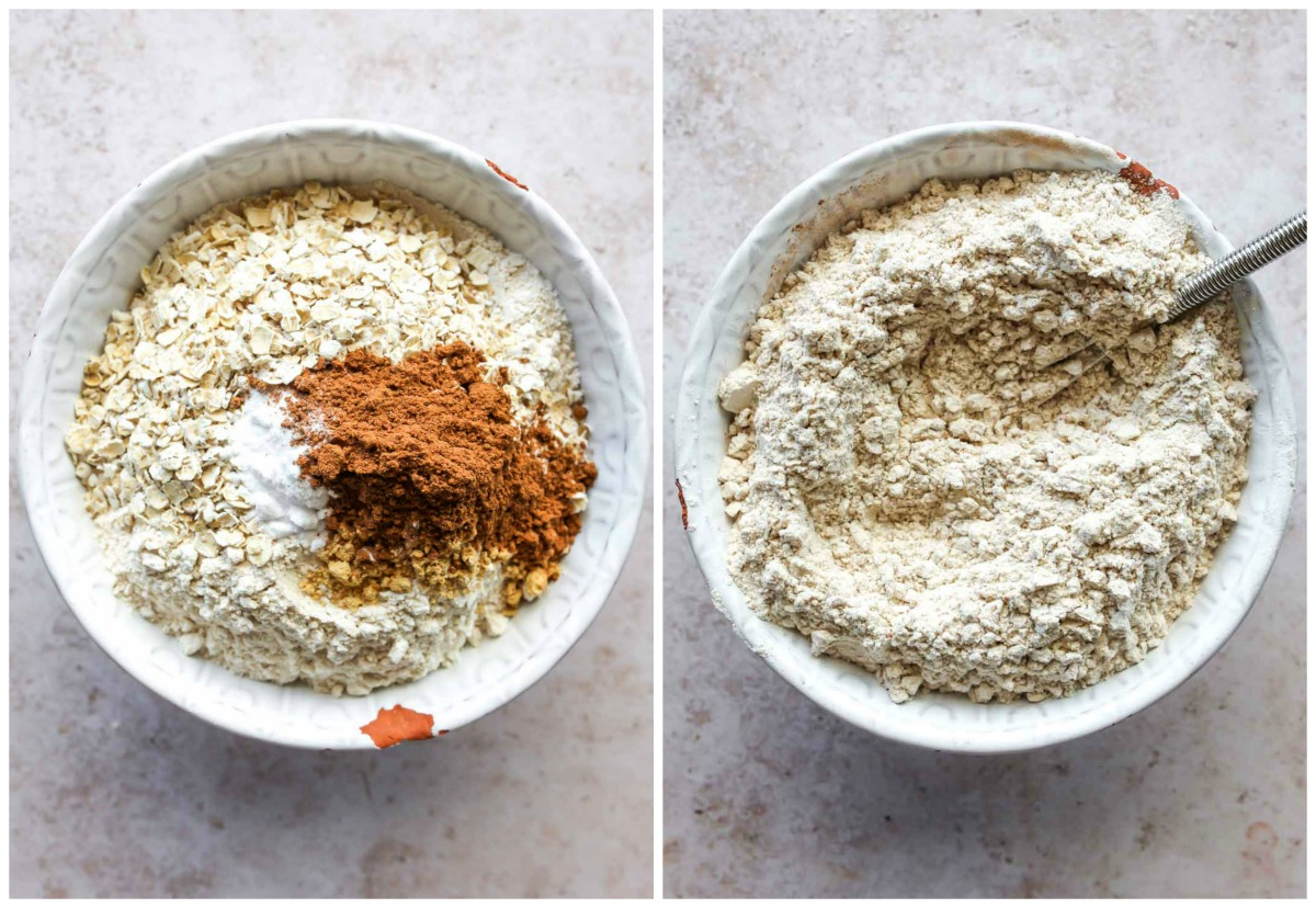 Flour, oats, and spices being whisked together in a mixing bowl