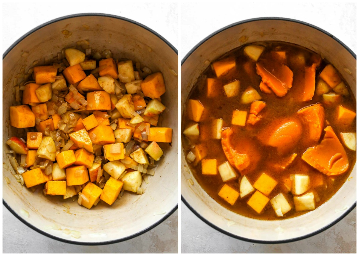 Spices, broth, and pumpkin puree being added to a Dutch oven