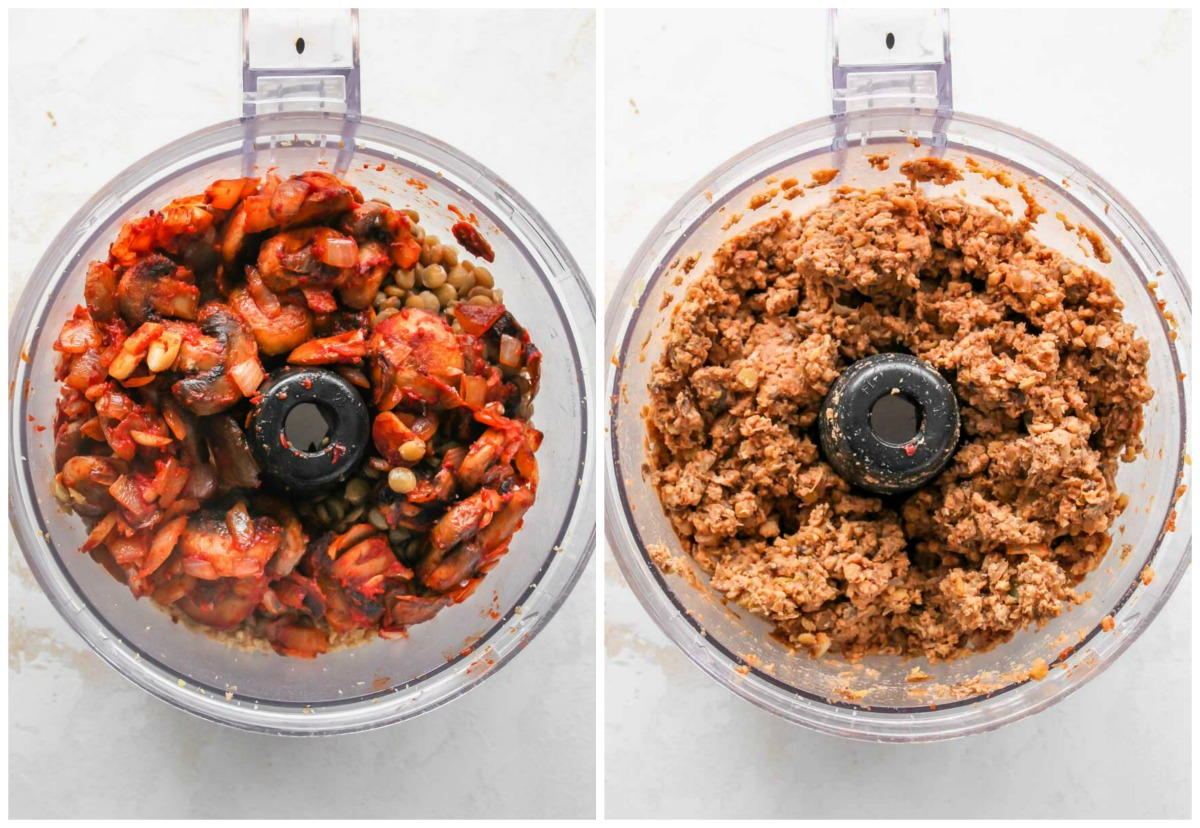 Mushroom mixture being added to tempeh mixture and blended in a food processor