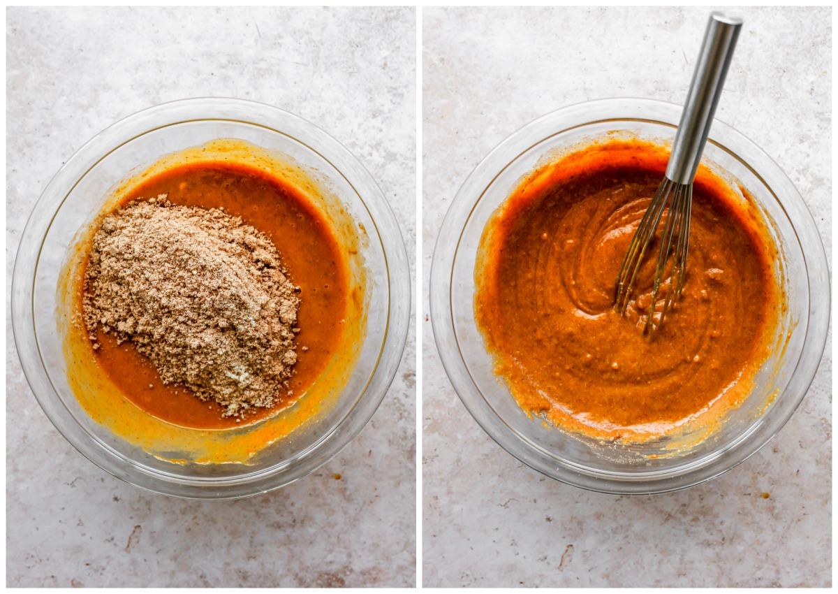 Almond flour mixture being wet ingredients