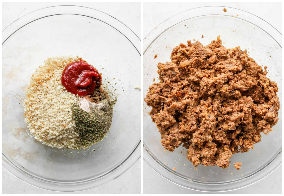 Breadcrumbs, ketchup and spices being mixed with blended lentil mixture in a large glass bowl