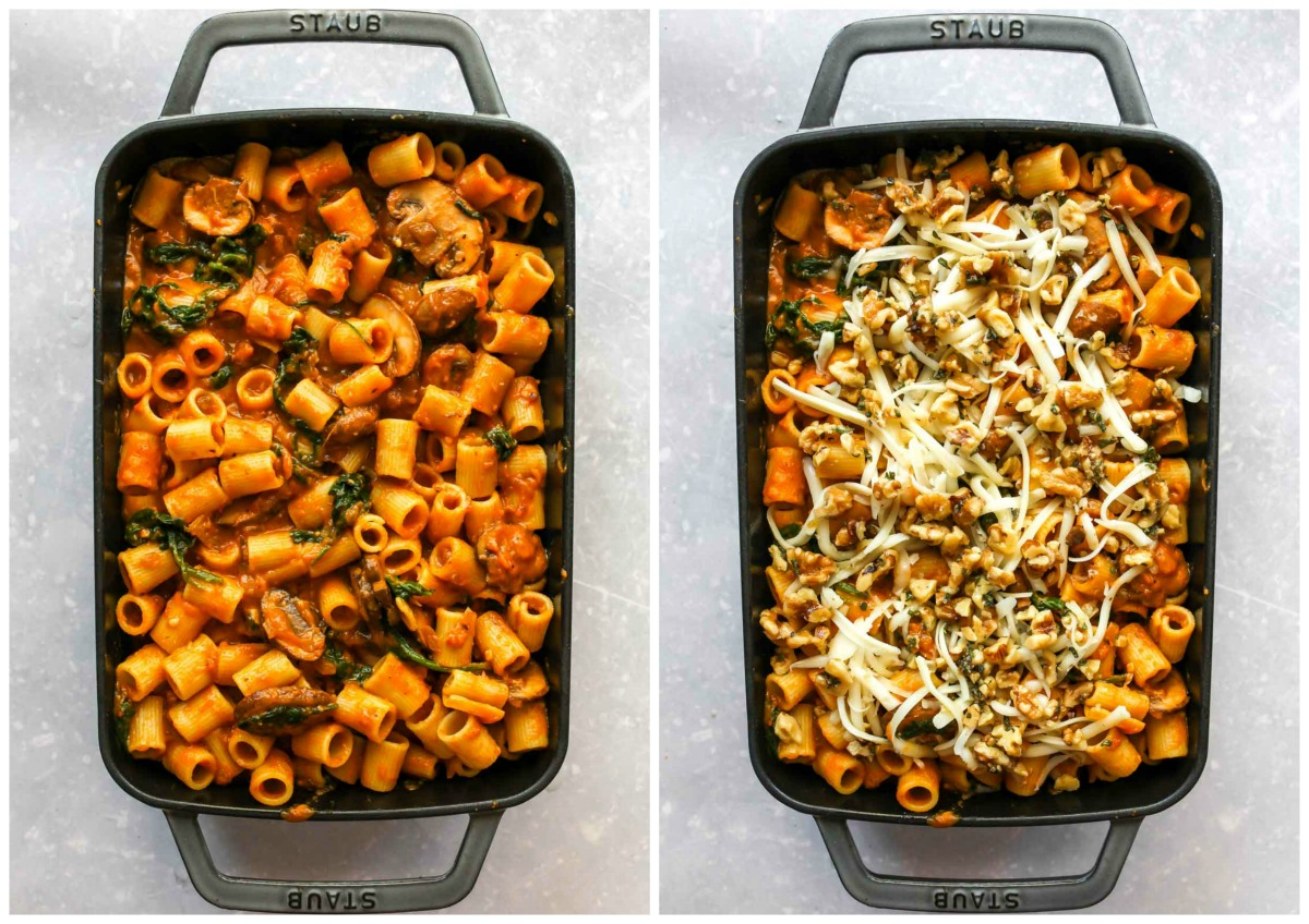 Pumpkin pasta being topped with shredded cheese and walnut-sage topping