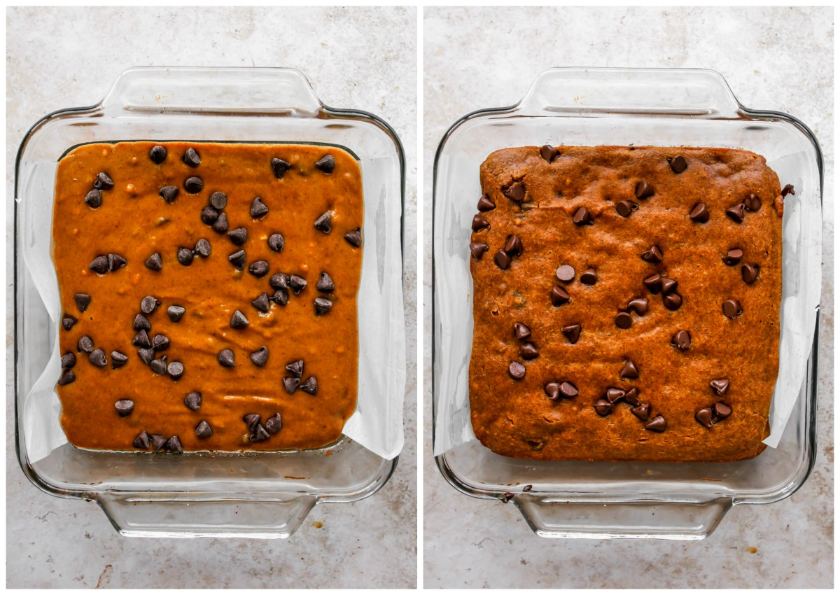 Pumpkin batter being poured in a baking dish and topped with chocolate chips