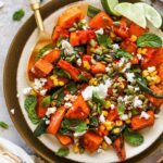 Butternut Squash and Poblano Salad with Feta, pumpkin seeds, and feta cheese