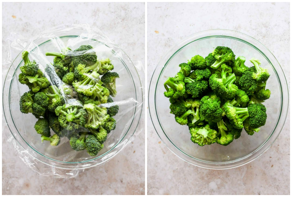 Broccoli being steamed in a glass bowl covered in plastic wrap
