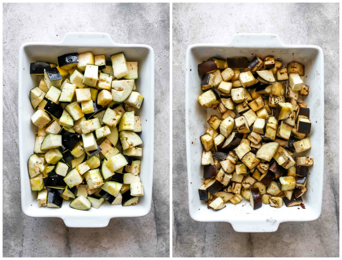 Cubes of eggplant being roasted in a white pan