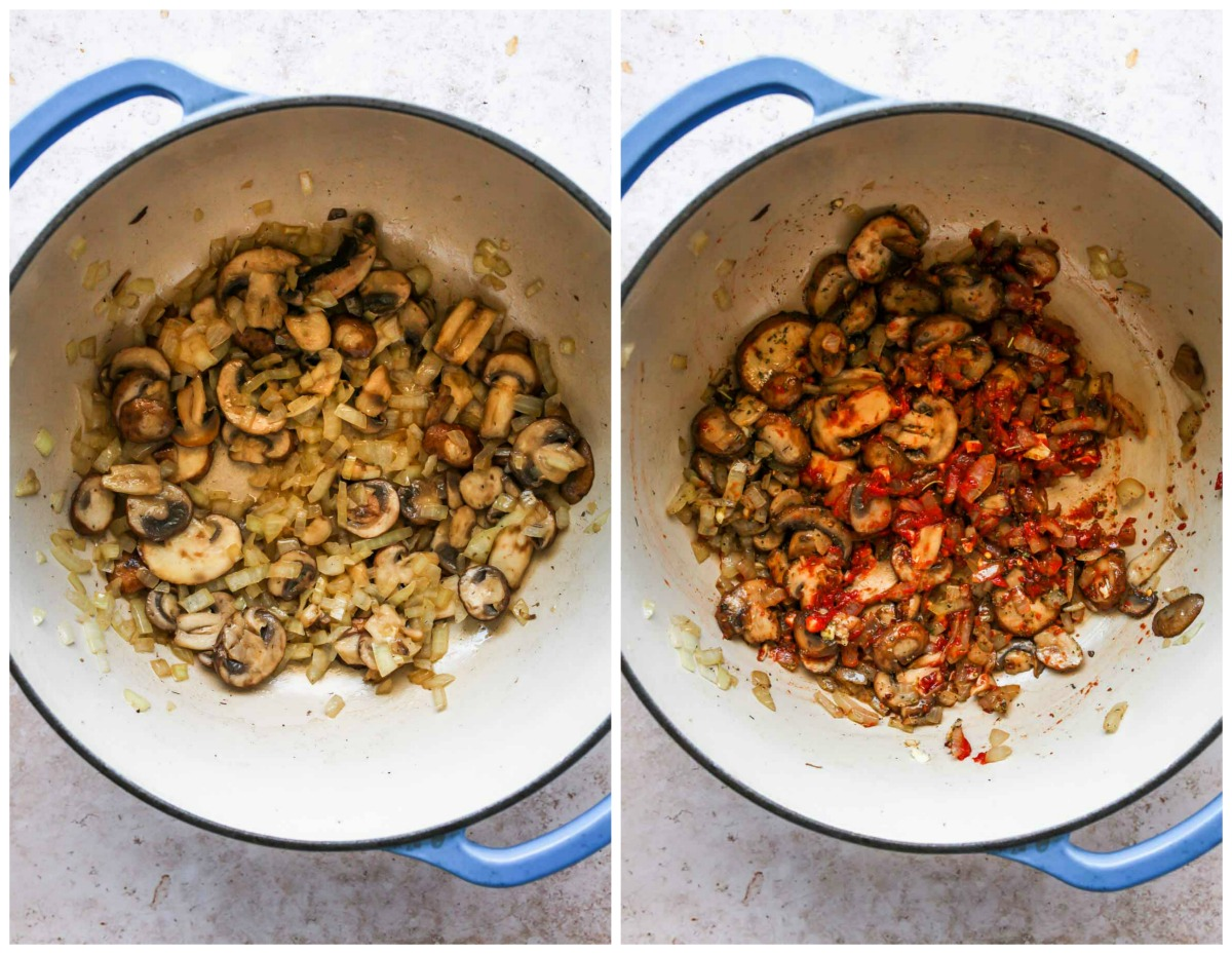 Mushrooms, onions, and tomato paste cooking in a Dutch oven