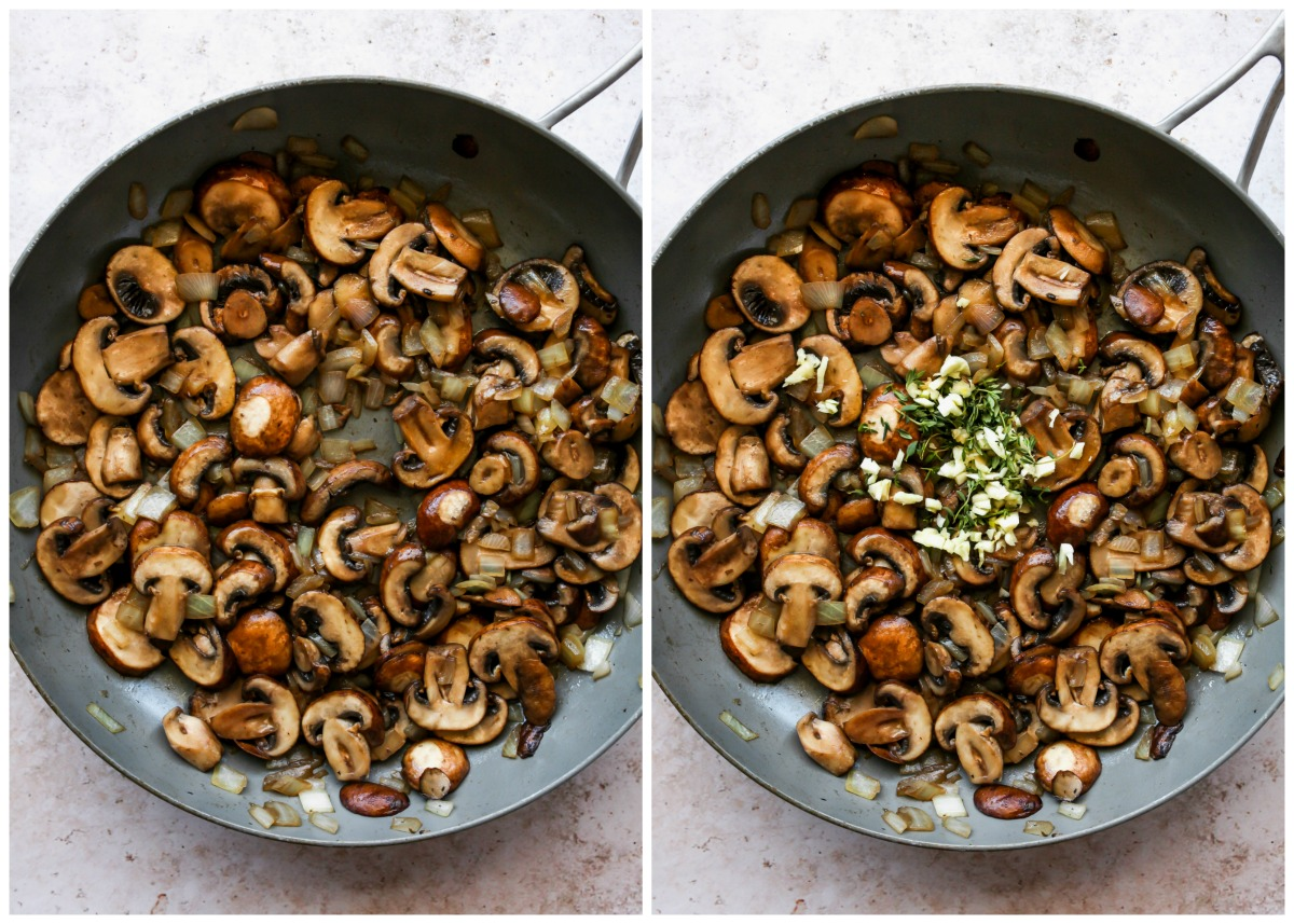 Mushrooms and onions sautéing in a skillet