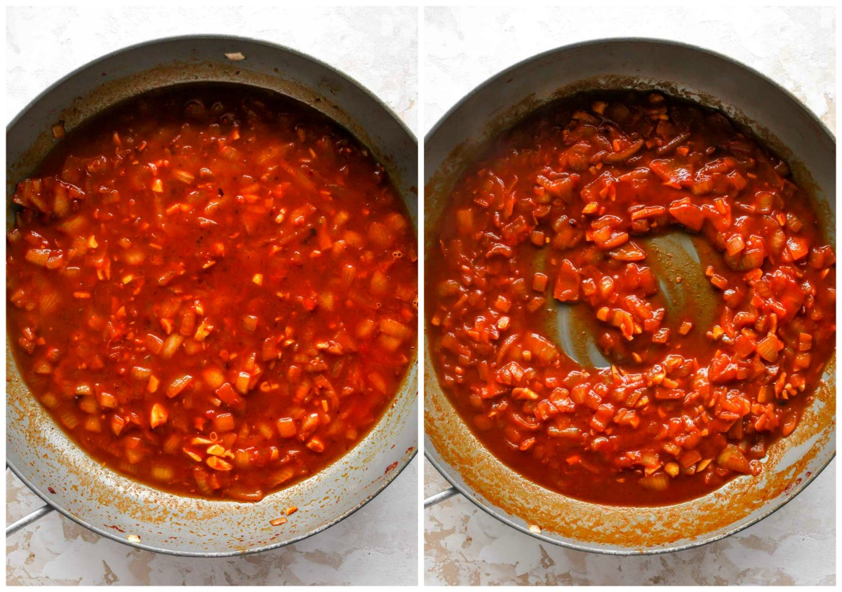 Sherry and broth being mixed into a skillet of tomato paste and onions