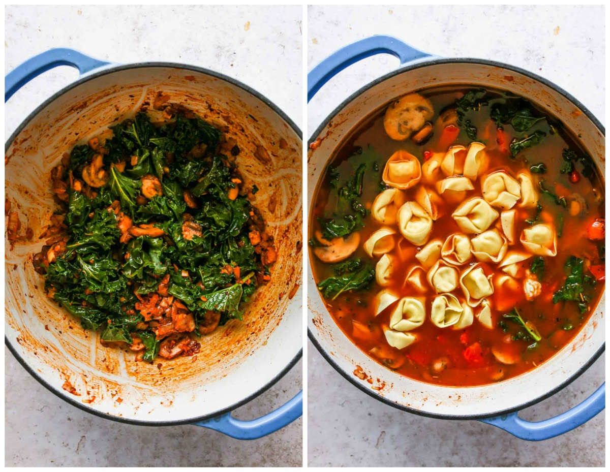Kale, tomatoes, broth, and pasta being mixed into soup
