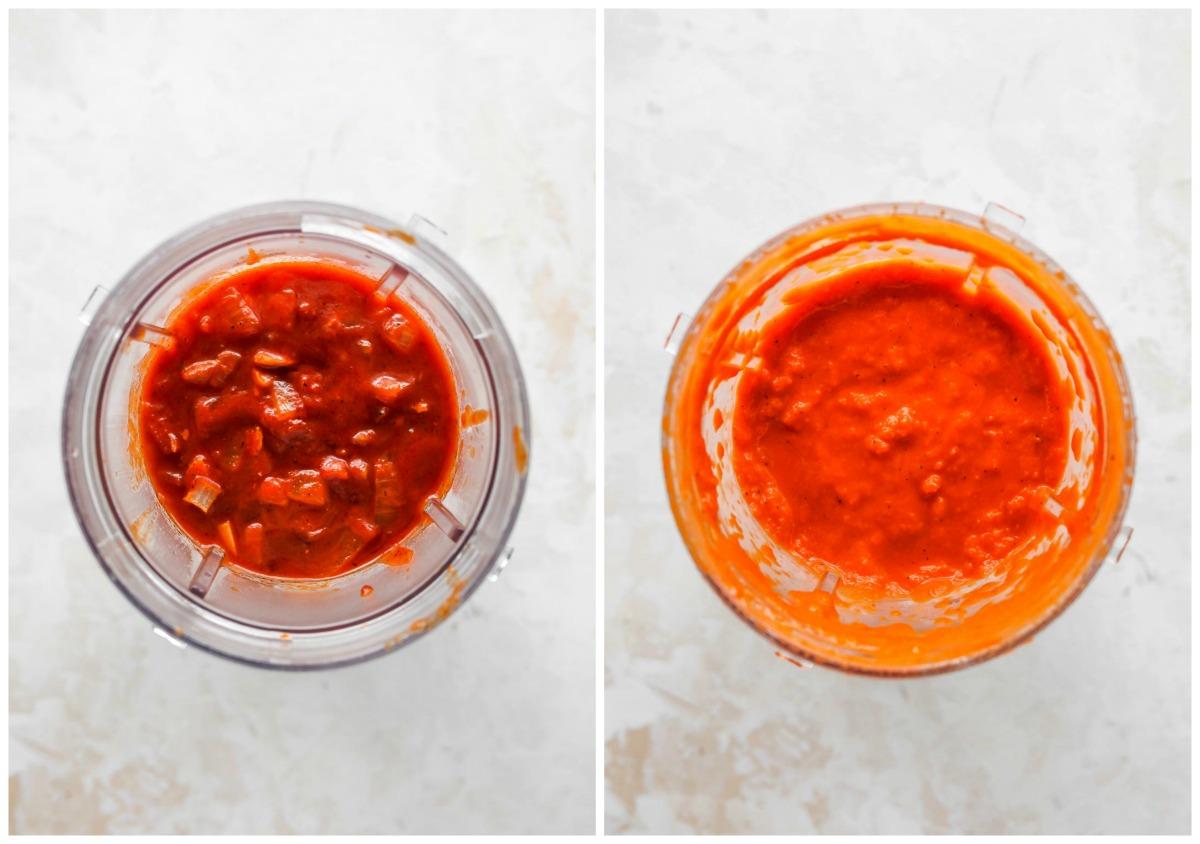 Red pepper sauce being blended until smooth in a blender