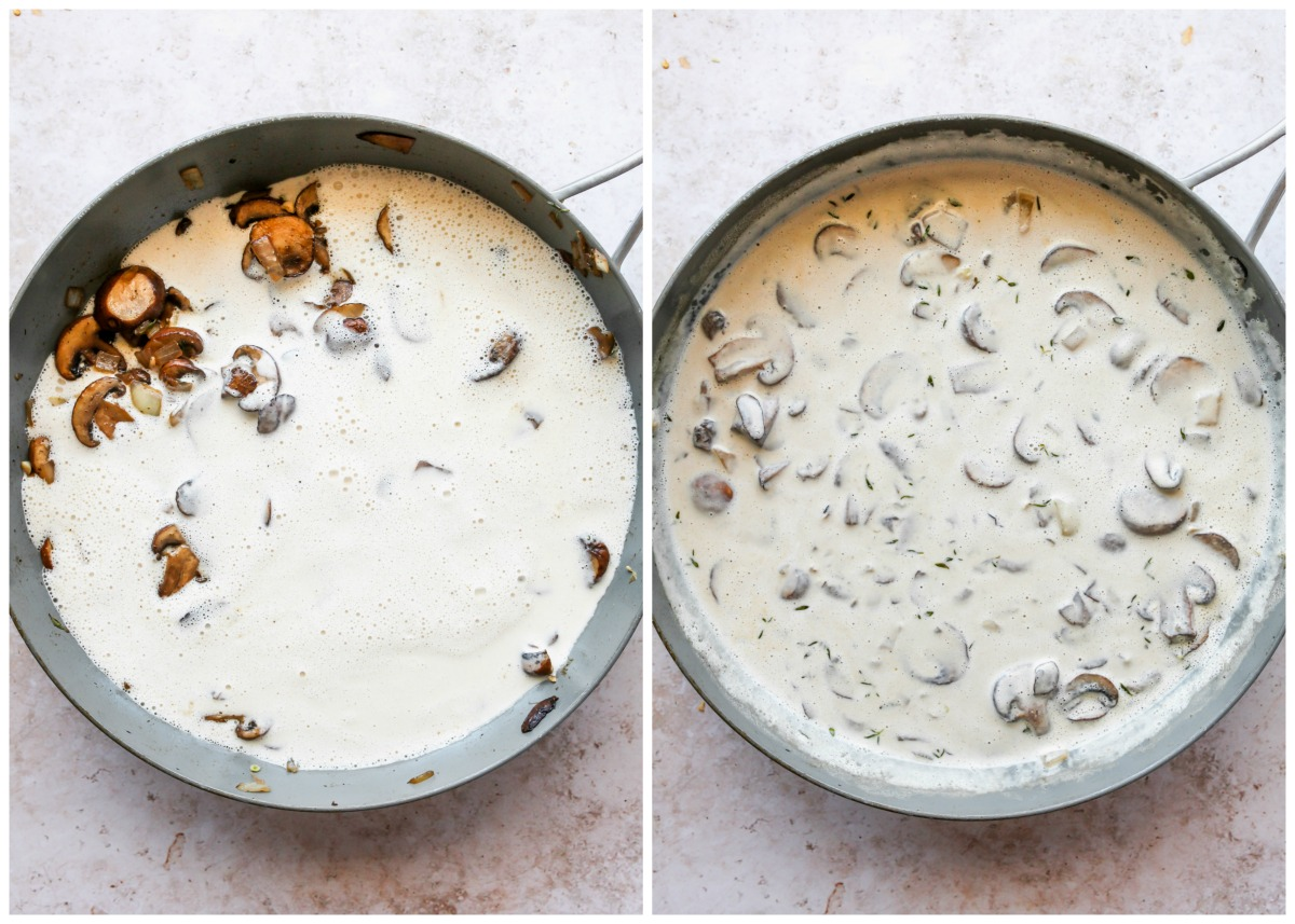 Cashew cream being stirred into a pan of mushrooms