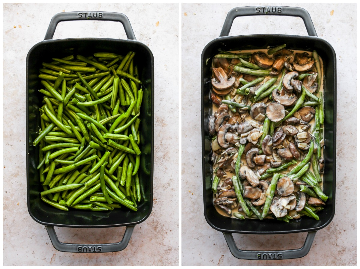 Green beans and vegan cream of mushroom soup being mixed in a baking dish