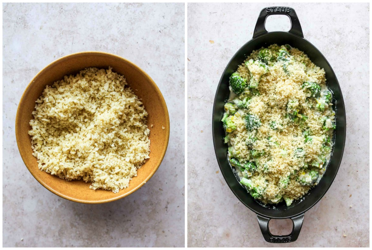 Panko being tossed in olive oil and scattered over a pan of broccoli and cheese sauce