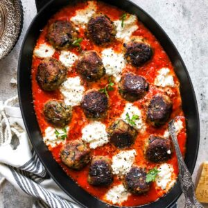 Eggplant Parmesan Meatballs in Marinara Sauce with Ricotta Cheese