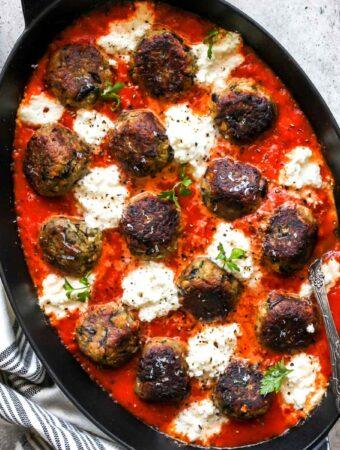 Eggplant Parmesan Meatballs in Marinara Sauce with Ricotta Cheese