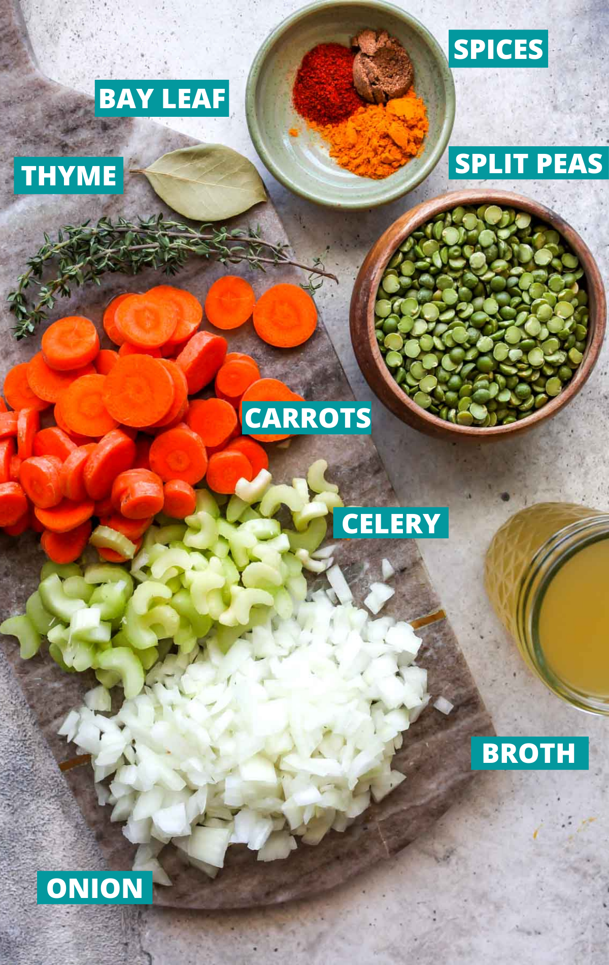 Split pea soup ingredients shown in separate bowls with blue labels