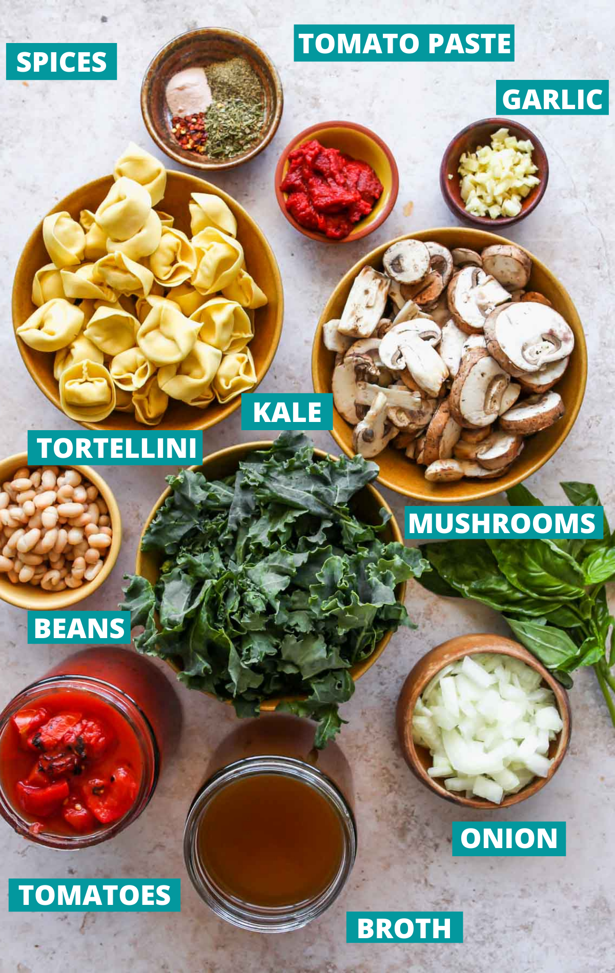 Tortellini soup ingredients in separate bowls with blue labels