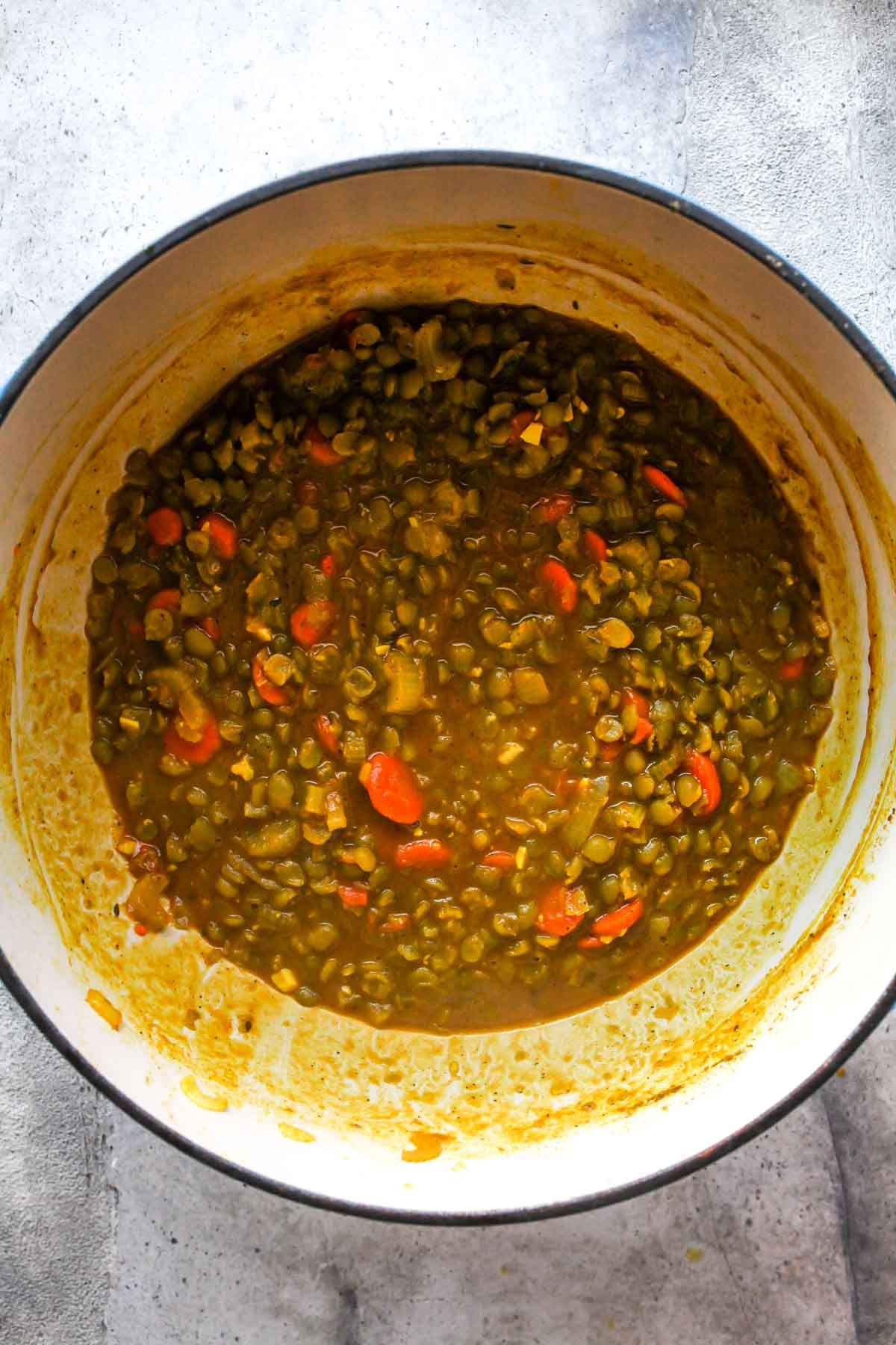 Cooked split pea soup in a large pot