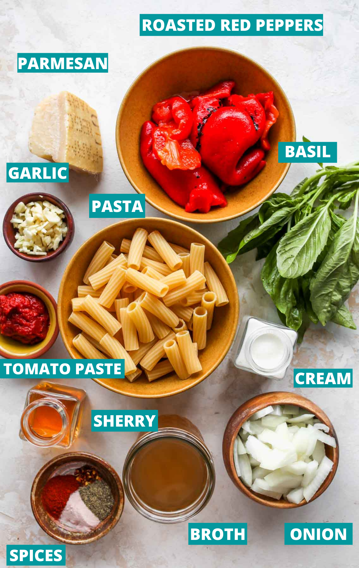 Red pepper pasta ingredients in separate bowls with blue labels