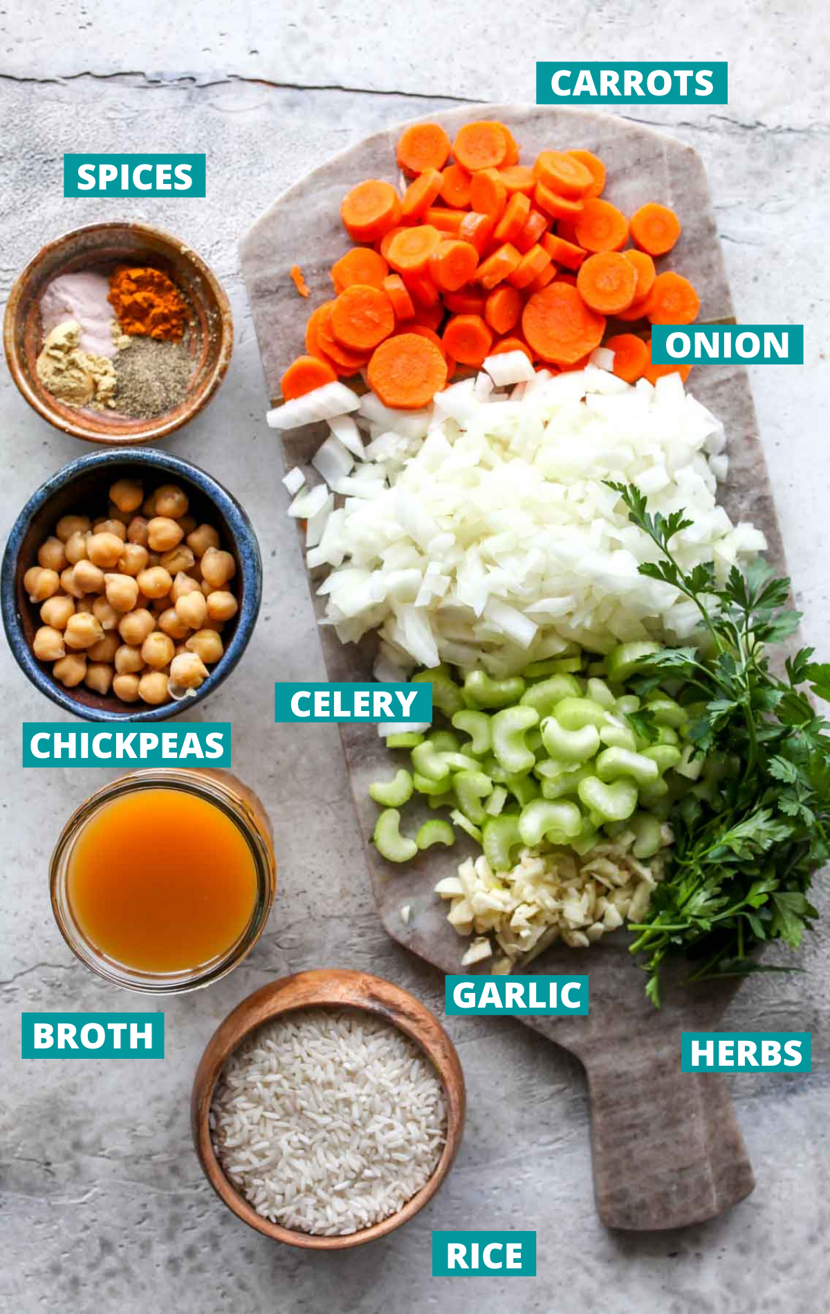 Vegetarian rice soup ingredients in separate bowls with blue labels