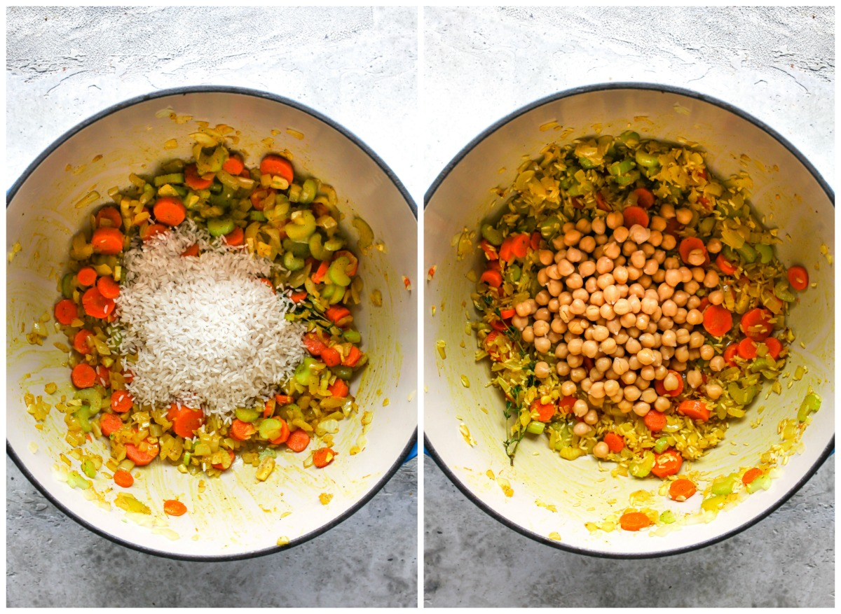 Rice and chickpeas being stirred into a Dutch oven of aromatics
