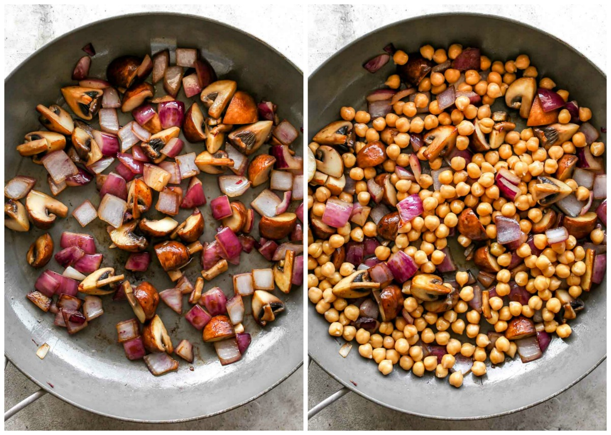 Mushrooms, red onion, and chickpeas being sautéed in a silver skillet