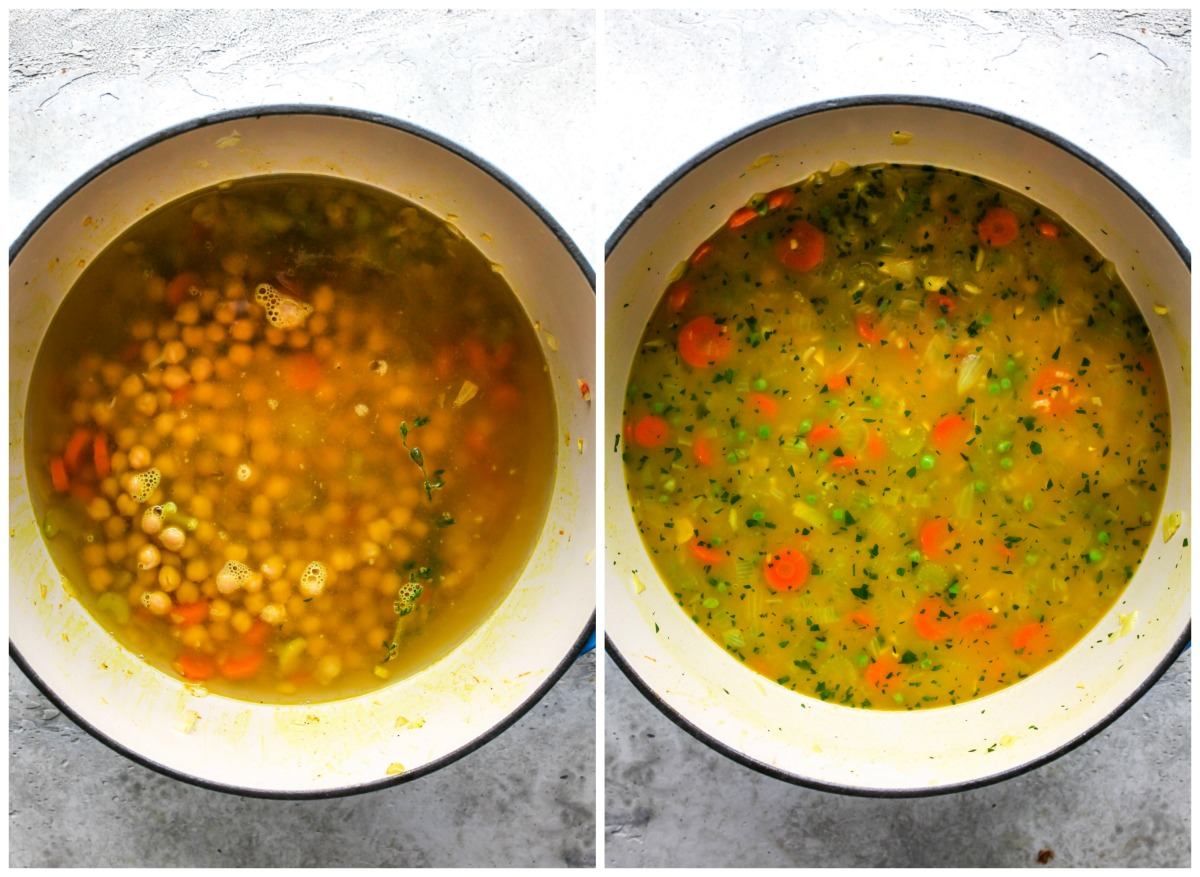 Broth being added to a pot of soup