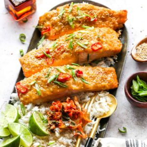 Miso Maple Baked Salmon with Rice and Green Onion