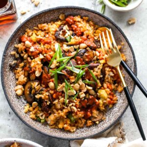 Mushroom Fried Rice with Red Curry Peanut Sauce