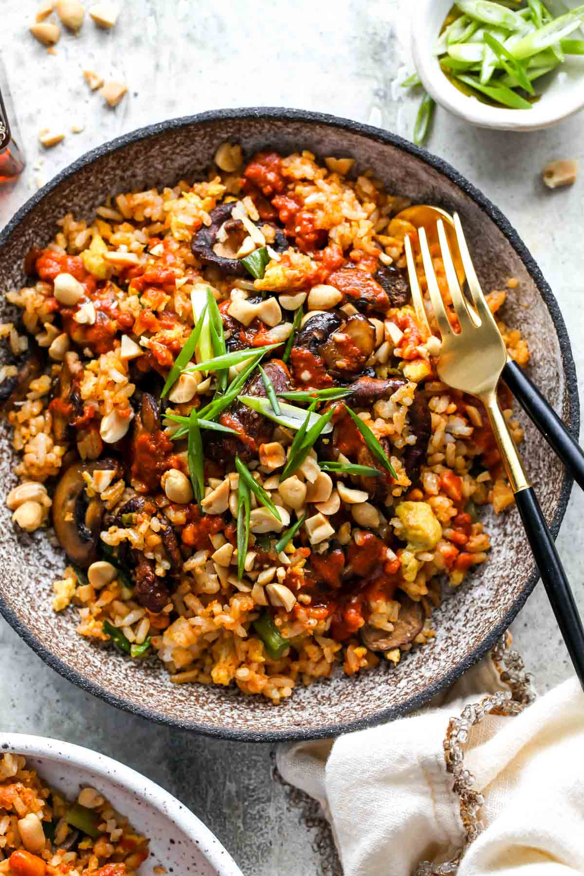 Mushroom Fried Rice topped with peanuts and green onion