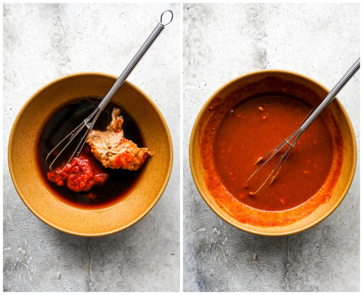 Red curry peanut sauce being whisked together in a gold bowl
