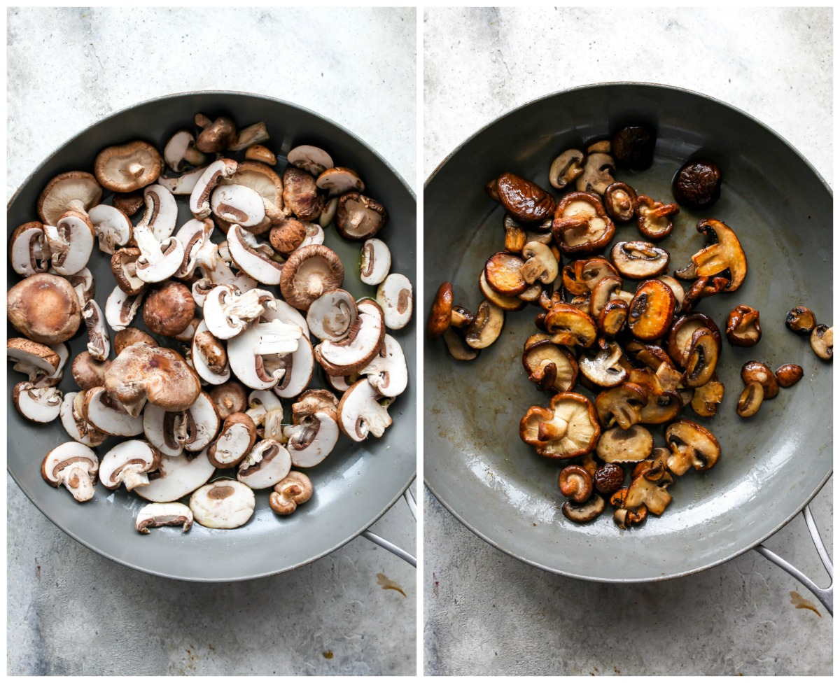 Mushrooms being sauteed until golden in a large skillet
