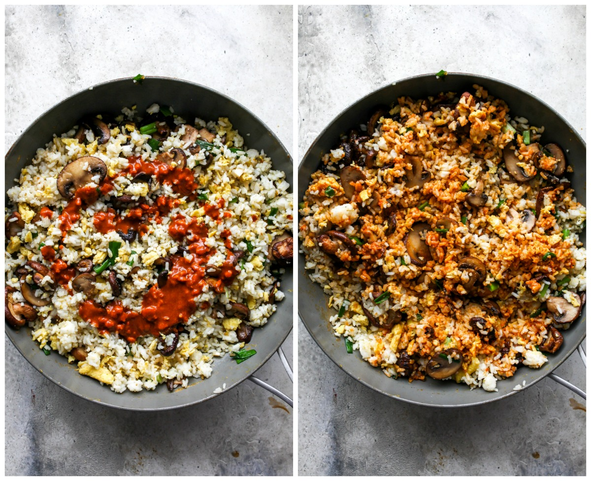 Vegetables and peanut sauce being mixed into a skillet of fried rice