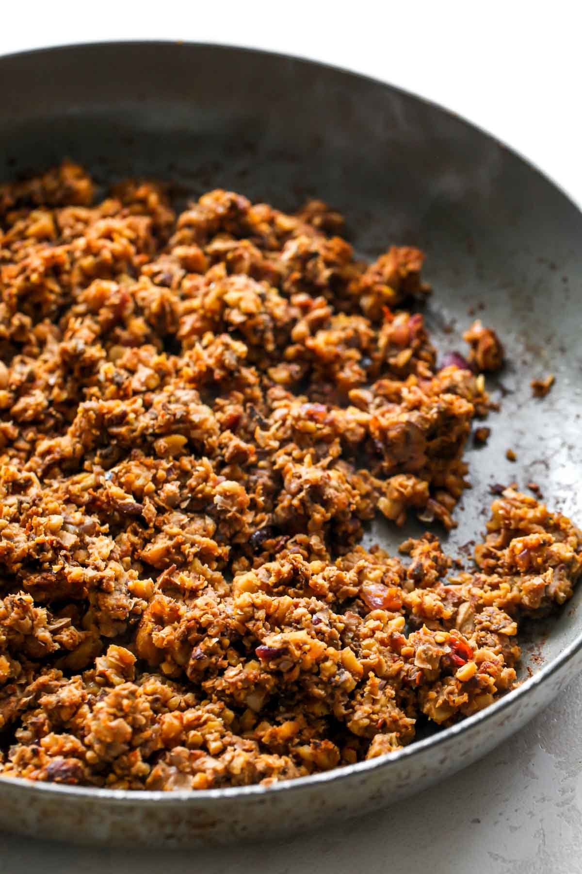 Cooked vegan chorizo in a skillet