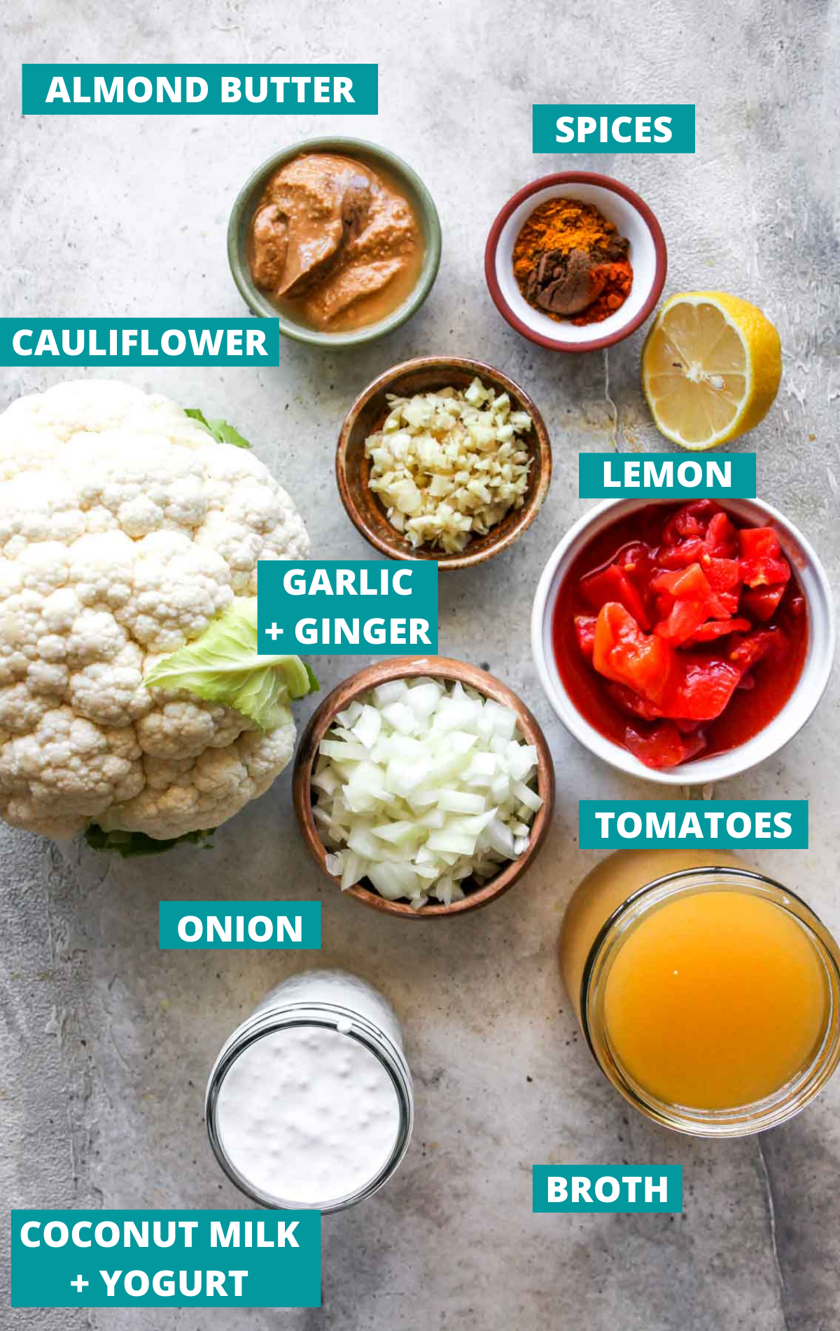 Cauliflower korma ingredients in separate bowls with blue labels