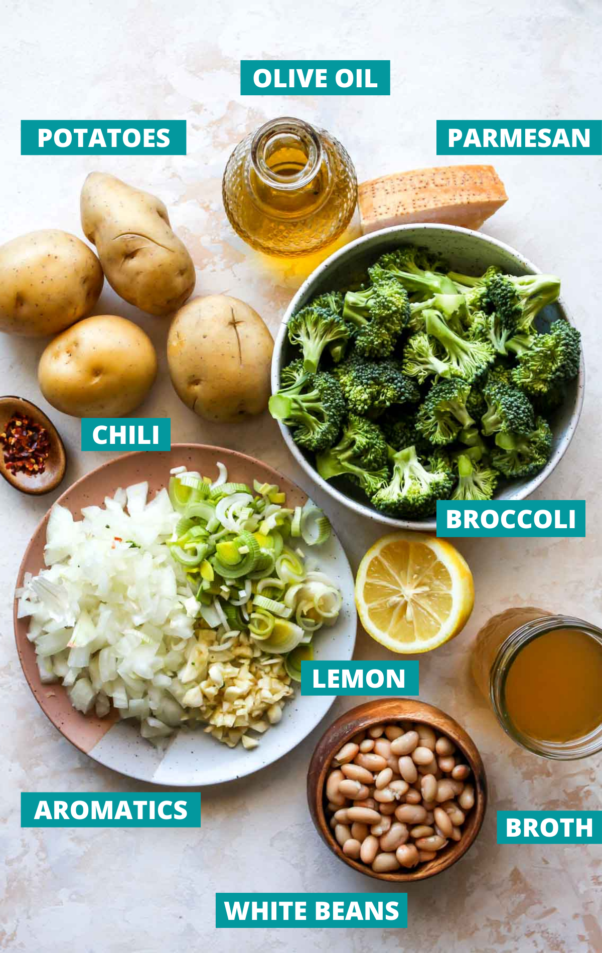 Recipe ingredients in separate bowls with blue labels
