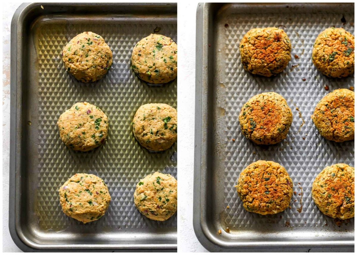 Chickpea falafel being baked on a large rimmed baking sheet