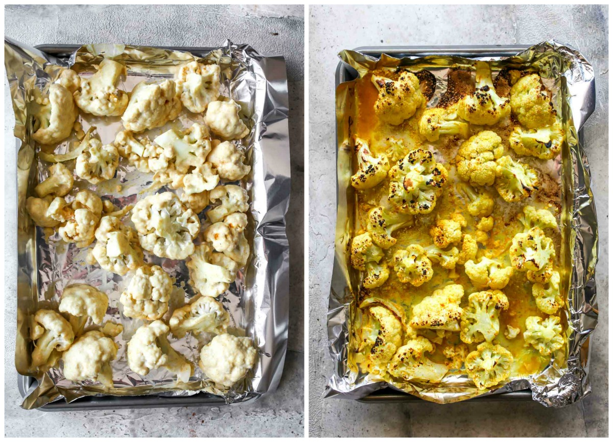 Cauliflower florets spread on a sheet pan covered in foil being broiled