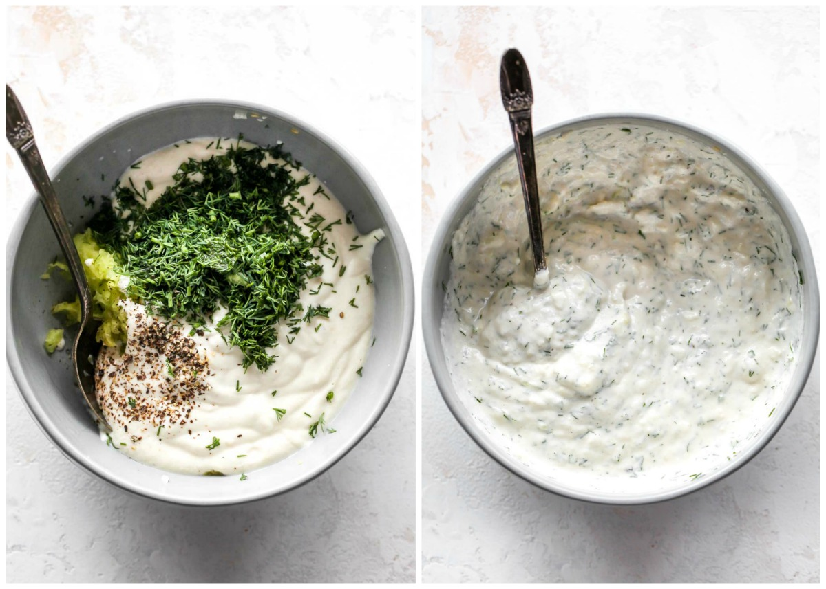 Vegan tzatziki sauce being mixed with dill and parsley