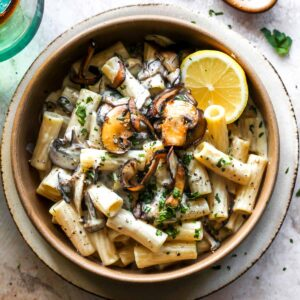 Creamy Vegan Mushroom Pasta with Lemon and Black Pepper