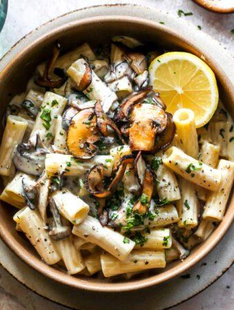 Creamy Vegan Mushroom Pasta with Lemon and Black Pepper