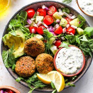 Falafel Bowls with Vegan Tzatziki and Cucumber-Tomato Salad