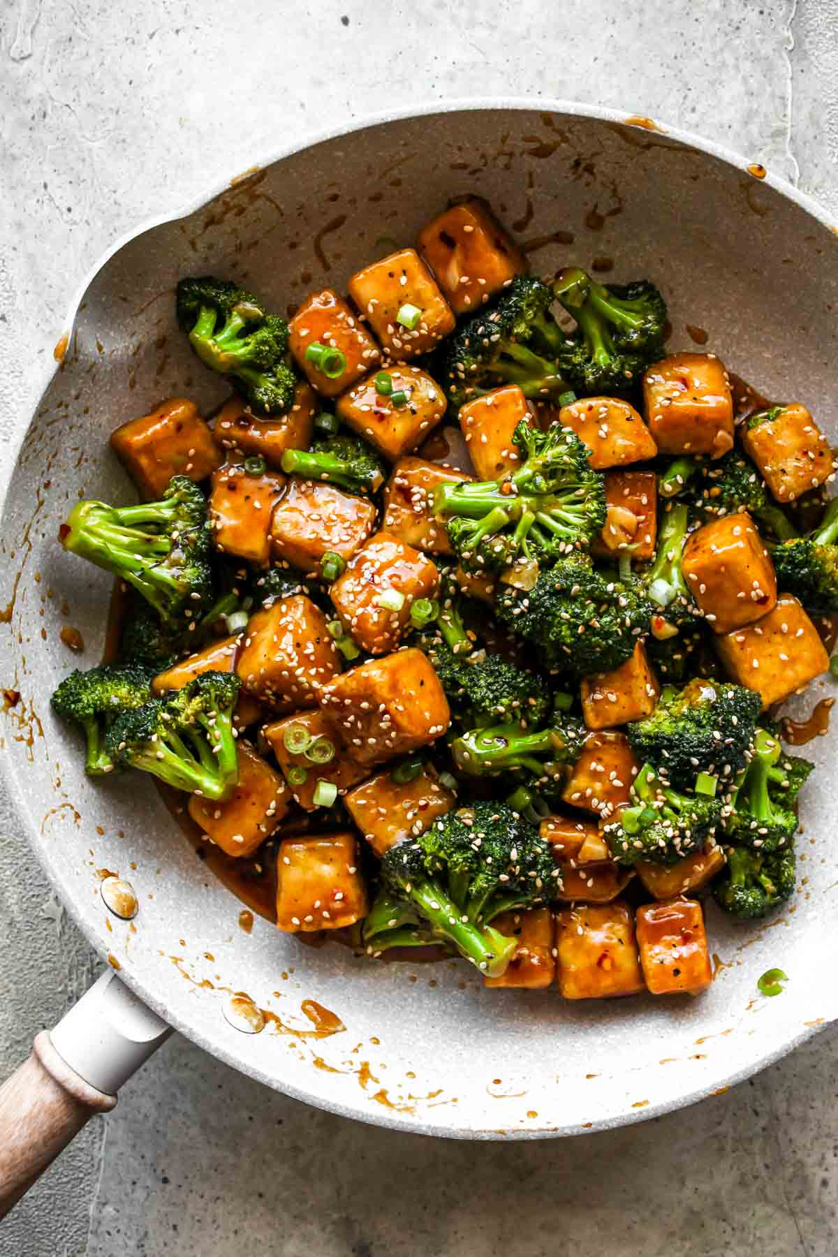 General Tso's Tofu and Broccoli Stir-Fry in a skillet