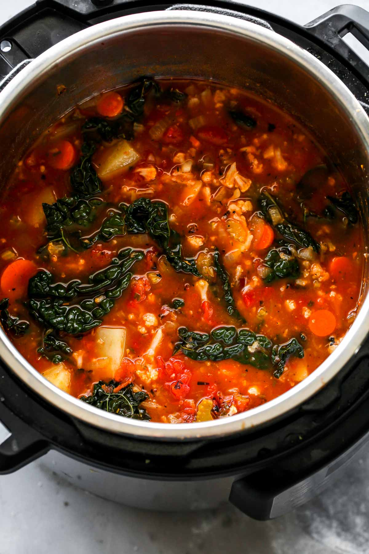 Instant Pot filled with vegetable soup