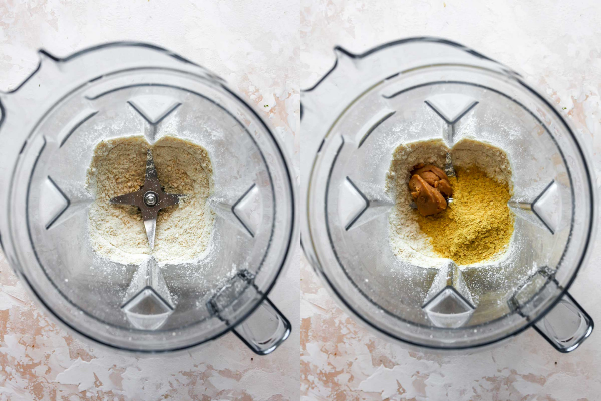 Cashews, nutritional yeast, and miso paste being blended in a blender