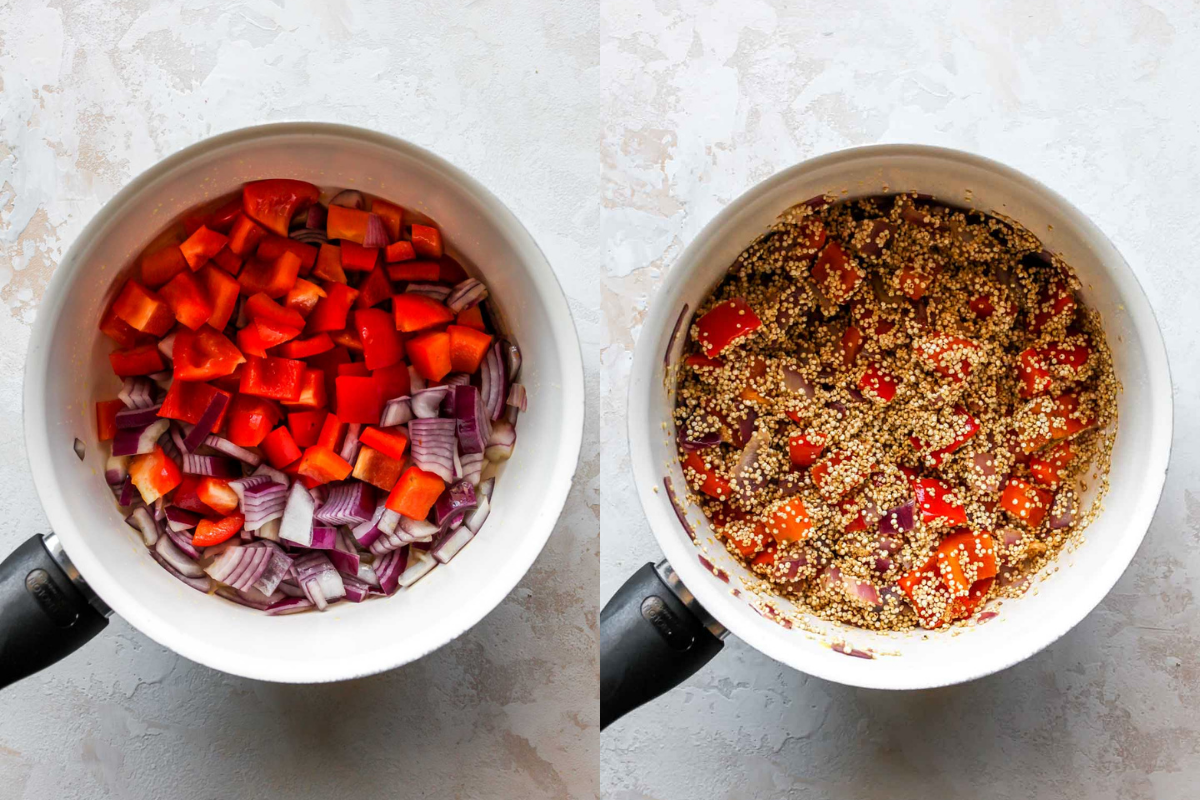Red onion, bell pepper, and quinoa being cooked in a saucepan