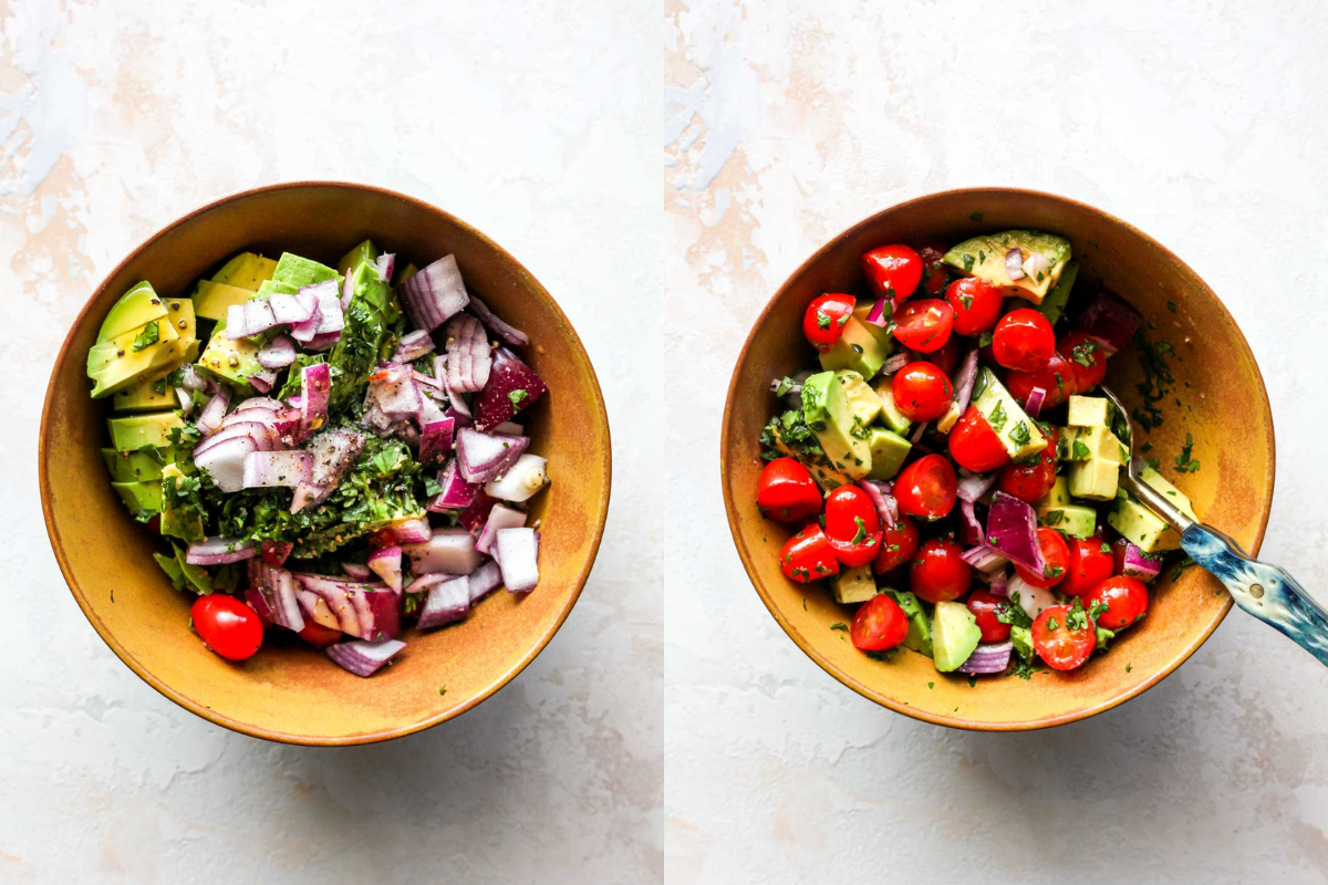 Avocado, tomatoes, cilantro, and jalapeno being mixed together in a gold bowl