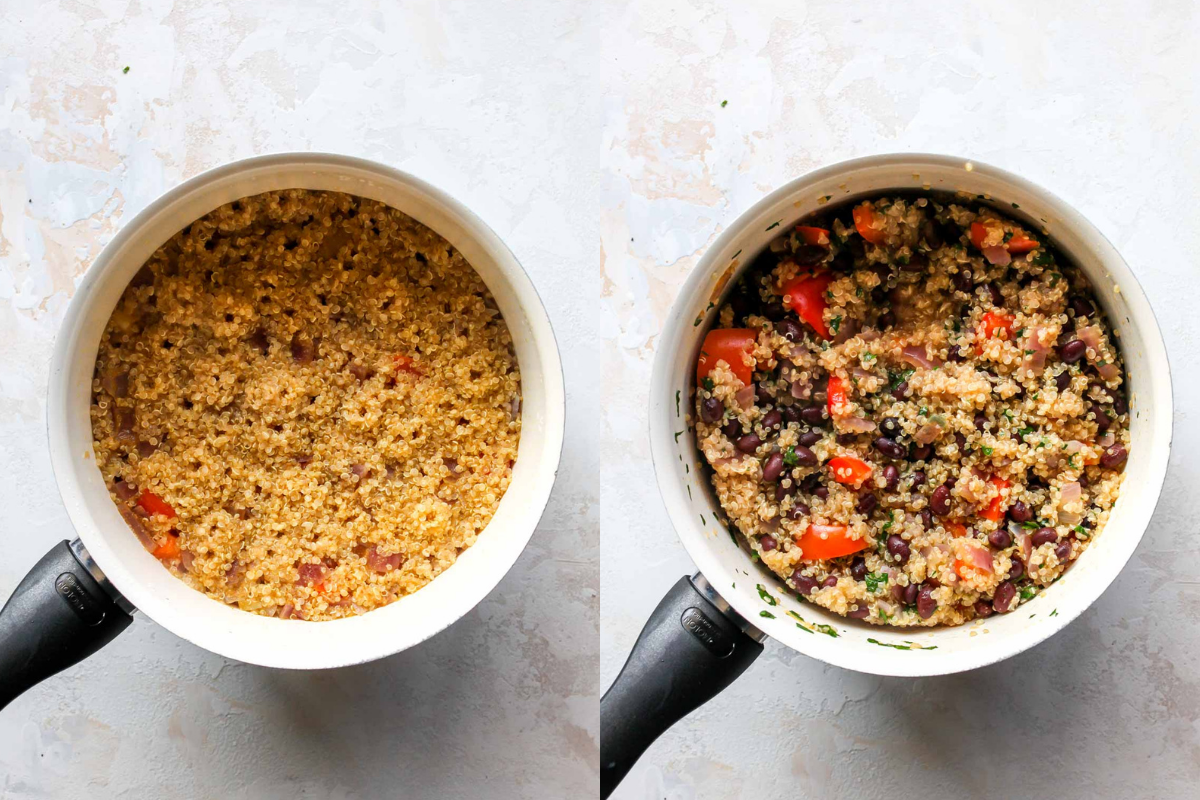 black beans and cilantro being stirred into a pot of quinoa