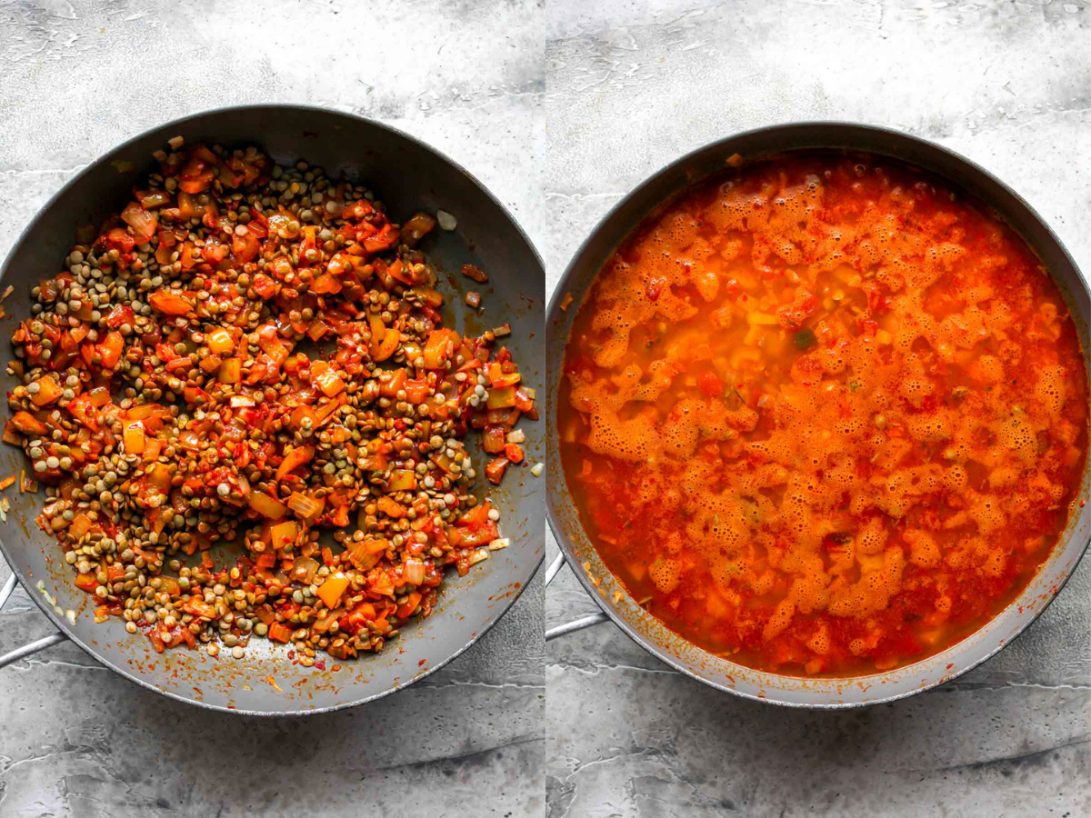 Lentils, broth, and diced tomatoes being mixed in a skillet